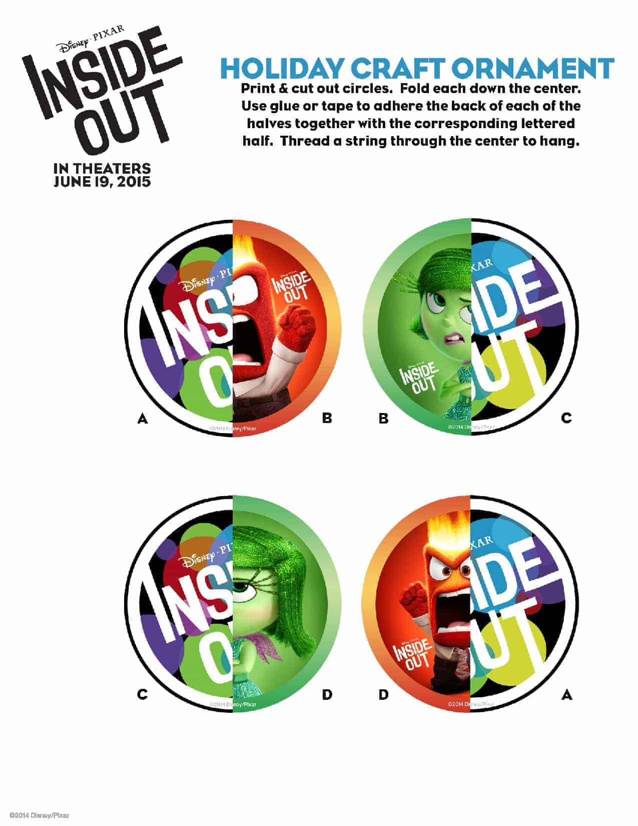 Inside Out Holiday Ornaments