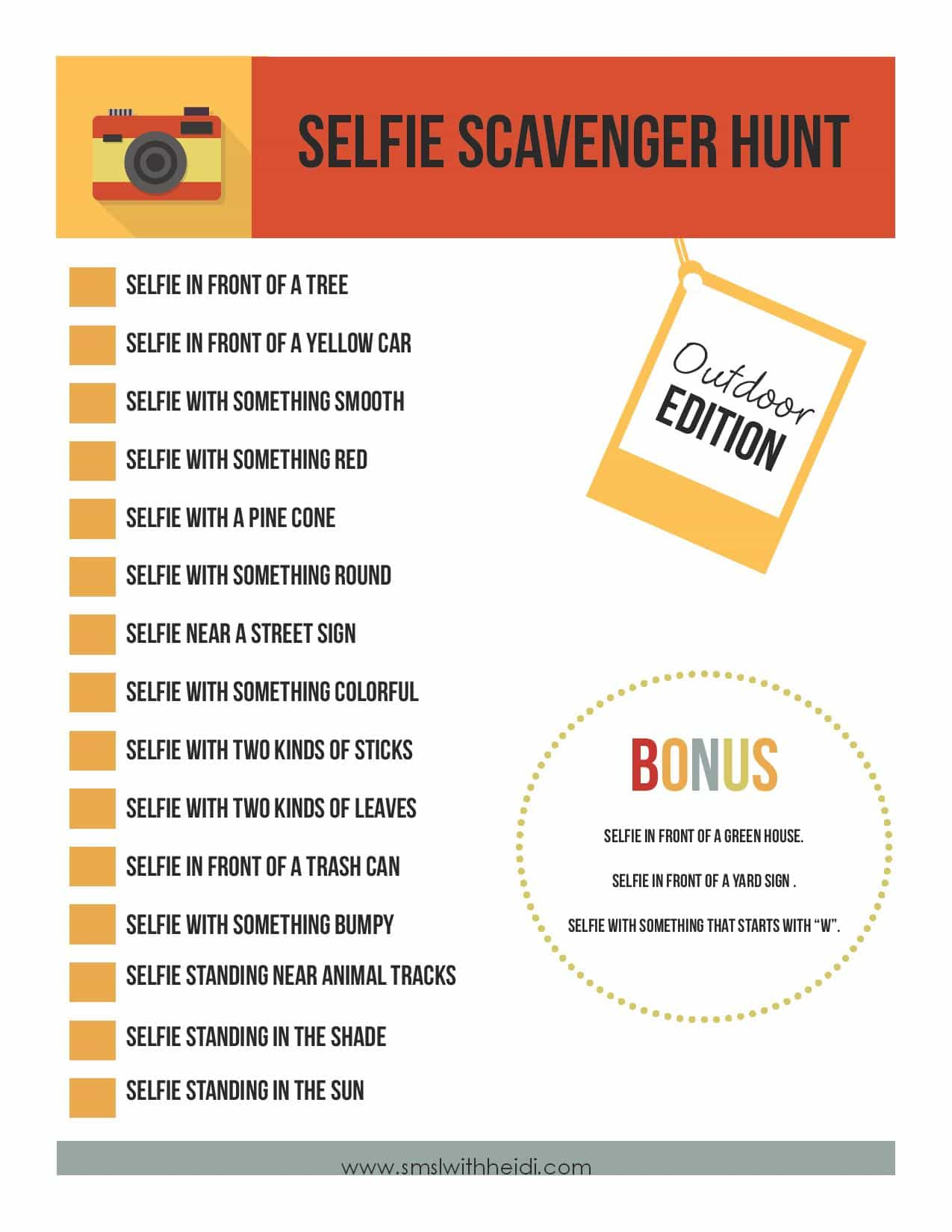 Selfie Scavenger Hunt - Life with Heidi