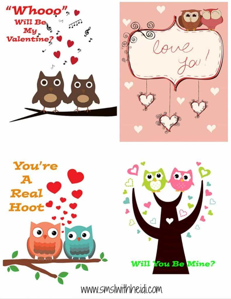 Owl Valentines Printable