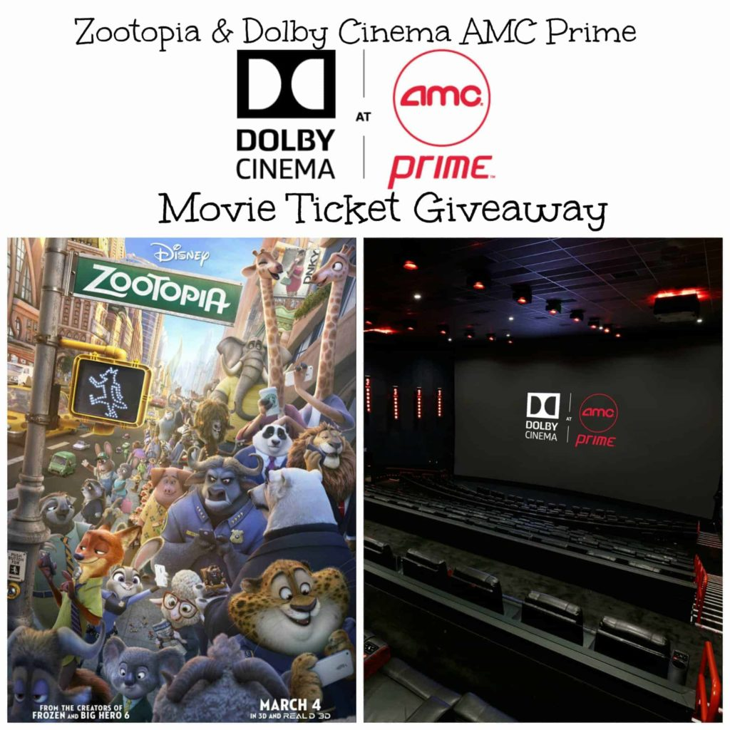 Zootopia and Dolby Cinema AMC Prime Movie Ticket Giveaway