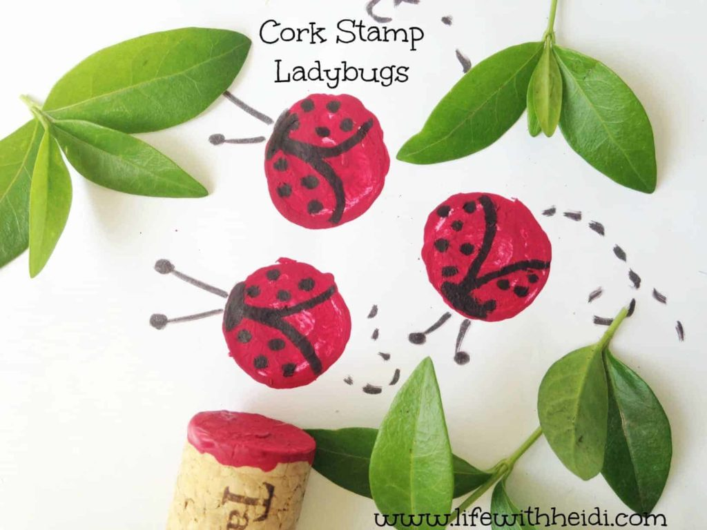 Cork Stamp Ladybugs