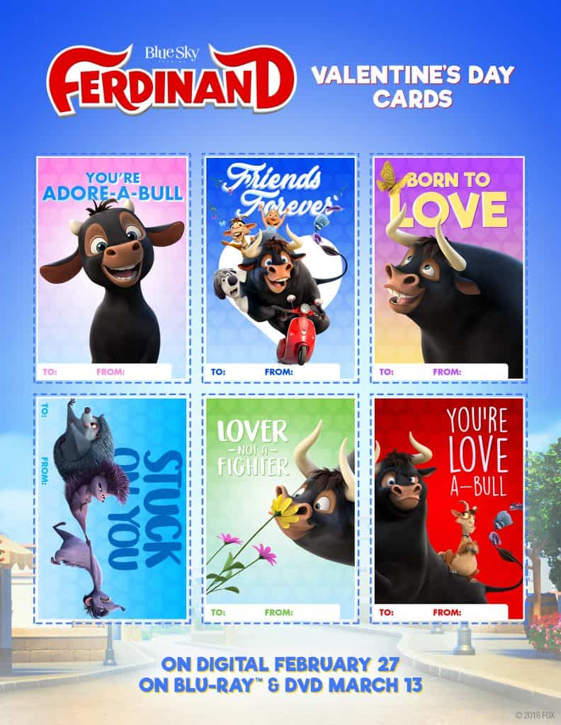 Enjoy these lovea-BULL characters and Ferdinand will be availa-BULL on Digital 2/27 and on 4K Ultra HD, Blu-ray and DVD 3/13.