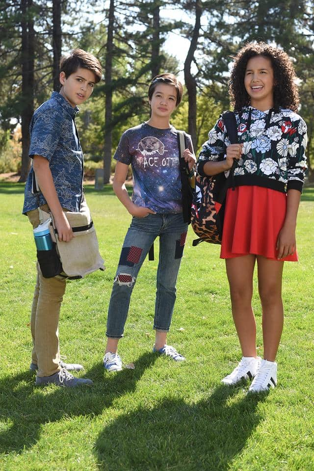 "ANDI MACK - ""Tomorrow Starts Today"" - Andi's family life is thrown for a loop when her big sister, the freewheeling Bex, returns home on the eve of her 13th birthday. It begins with Bex arranging for Andi to train for Ultimate Frisbee with the cutest guy at school, Jonah Beck, who she learns has a high school age girlfriend, Amber.Ê Andi also grapples with telling her best friends Buffy and Cyrus some big news, but is preoccupied making Jonah Beck a bracelet, at his request.Ê Meanwhile, Cyrus becomes the Space Otters' official Enthusiastic Supporter, helps them win their first game. This episode of ÒAndi MackÓ airs Friday, April 07 (8:30 Ð 9:30 P.M. EDT) on Disney Channel. (Disney Channel)JOSHUA RUSH, PEYTON ELIZABETH LEE, SOFIA WYLIE"