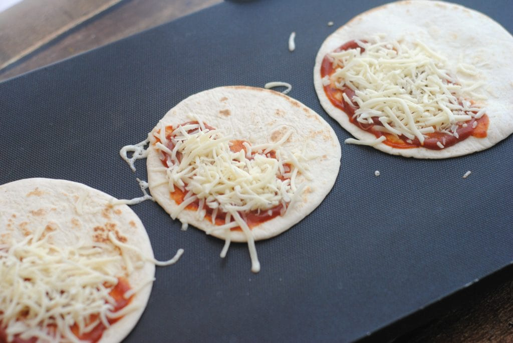 Pizzas made on Tortilla Shells for a quick meal