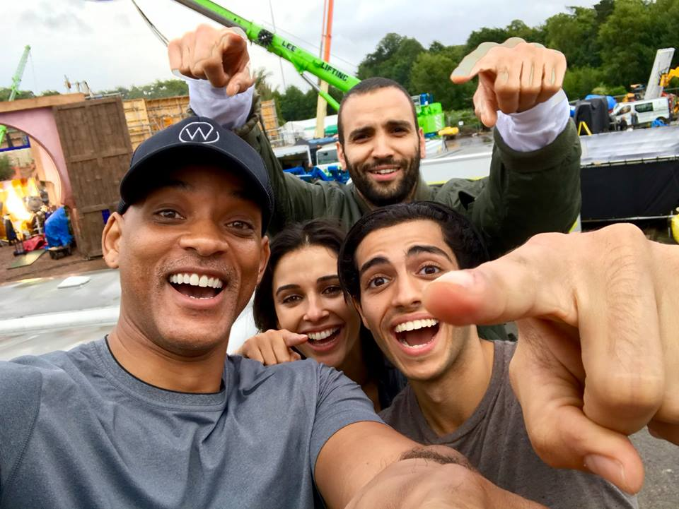 Meet the cast of the live-action adaptation of Aladdin, directed by Guy Ritchie: Will Smith as Genie, Mena Massoud as Aladdin, Naomi Scott as Jasmine, and Marwan Kenzari as Jafar! (📷: Will Smith)