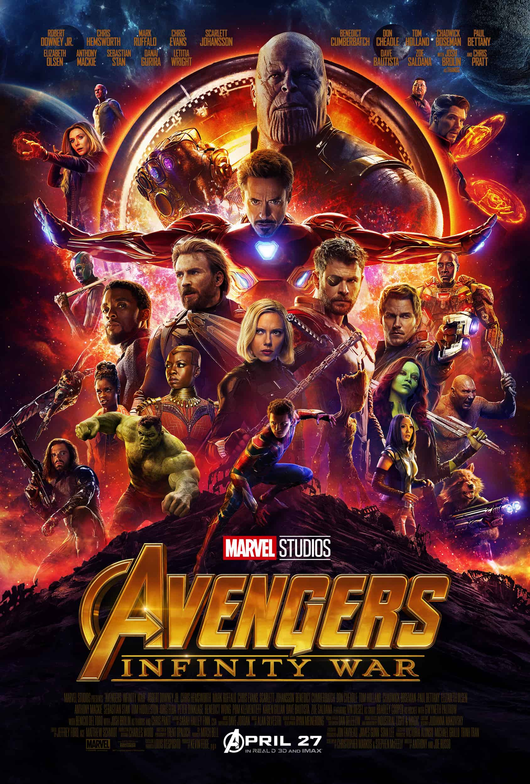 """Avengers: Infinity War"" releases in U.S. theaters on May 4, 2018."
