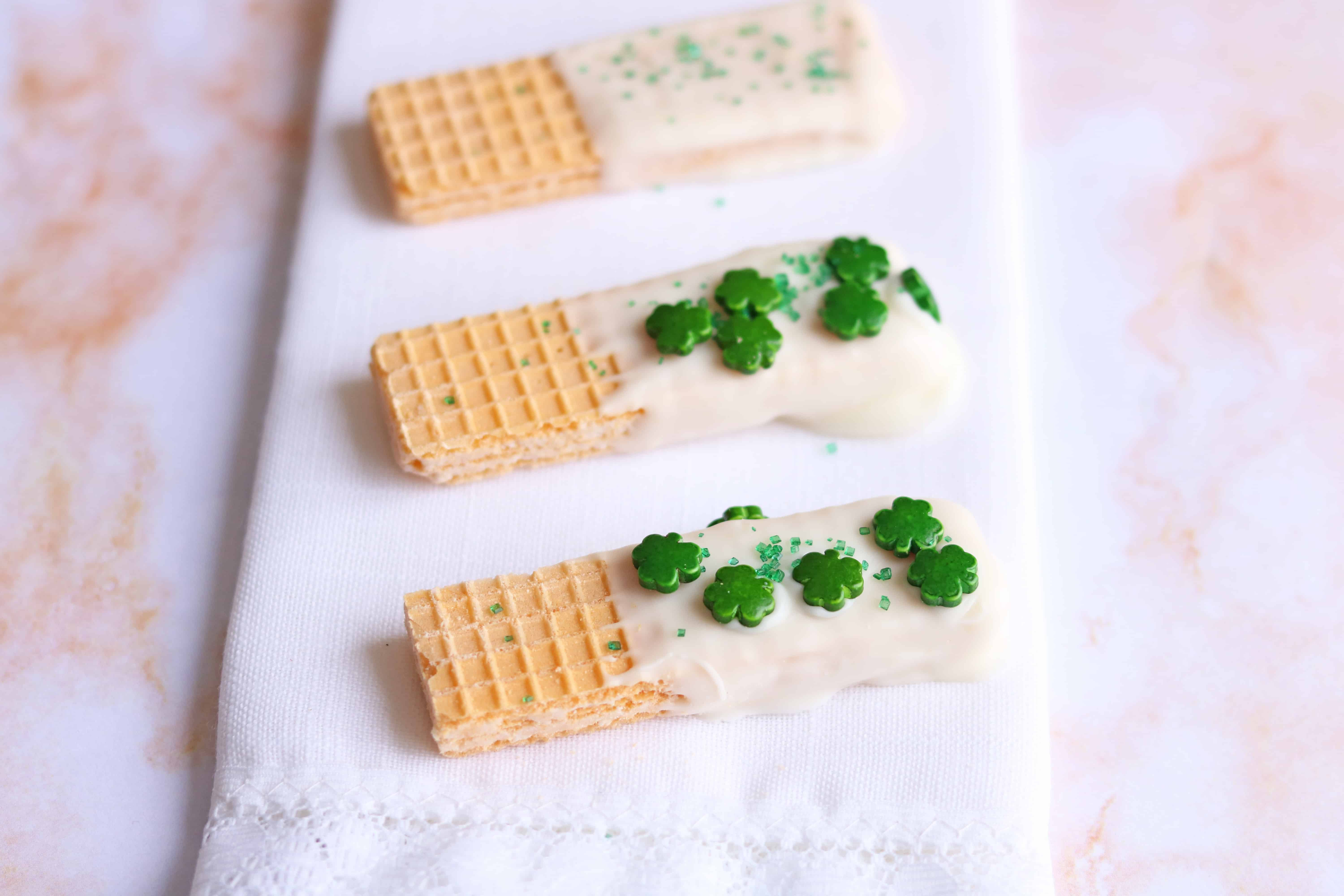 St. Patty's Day White Chocolate Dipped Wafers