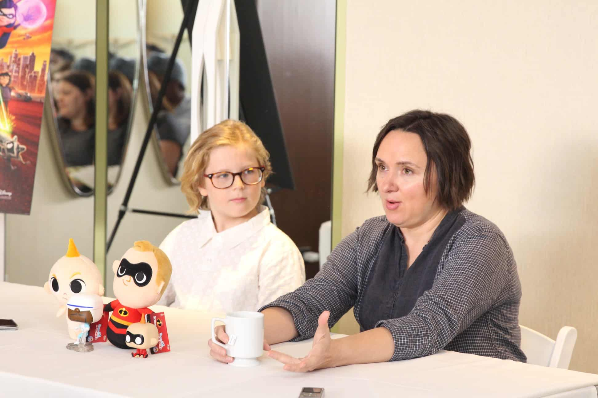 "Sarah Vowell (voice of ""Violet Parr"") & Huck Milner (voice of ""Dash Parr"""") photos. Photo Credit: Louise Manning Bishop / MomStart.com"