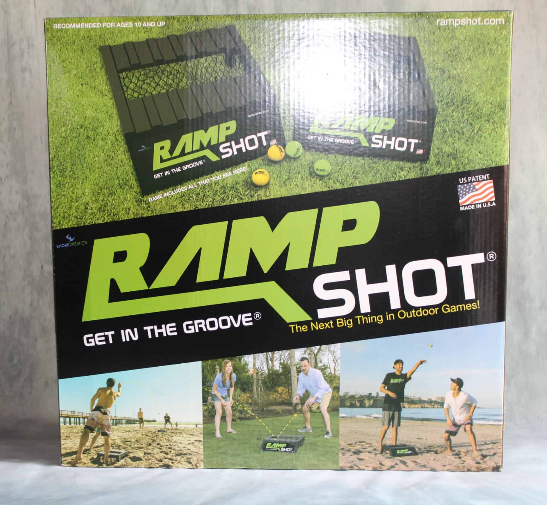 Get outside with your kids this summer with the coolest new, action-packed group game RampShot! It's described as 'corn hole on steroids' and incorporates two ramp boards and a bouncing ball. This isn't any ordinary board though, the ramp has grooves and ridges to make the ball bounce in various directions. The game is played two on two and requires jumping, running and catching. RampShot encourages motor skills, teamwork, and physical coordination.  Get your own Rampshot today!