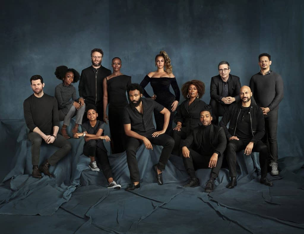 "Check out the voice talent from Disney's ""The Lion King"" together for the first time in a new cast photo. Pictured are Billy Eichner (Timon), Shahadi Wright Joseph (Young Nala), JD McCrary (Young Simba), Seth Rogen (Pumbaa), Florence Kasumba (Shenzi), Donald Glover (Simba), Beyoncé Knowles-Carter (Nala), Alfre Woodard (Sarabi), Chiwetel Ejiofor (Scar), John Oliver (Zazu), Keegan-Michael Key (Kamari) and Eric André (Azizi)."