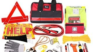 Thrive Auto Emergency Kit + First Aid Kit – Car Accessories Roadside Assistance & Survival Rugged Tool Bag with Jumper Cables, Reflective Safety Triangle and More - Cars Travel & Tow Essentials