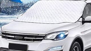 Mumu Sugar Car Windshield Snow Cover, Car Windshield Snow Ice Cover with 4 Layers Protector, Waterproof Windshield Winter Cover for Ice,Snow,Frost,Sun Protection,Extra Large Size Fits Most Vehicles